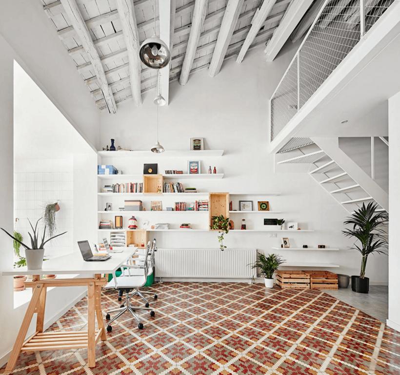 Escandinavo Oficina Loft - Cuando el espacio de la oficina es grande, crear espacios separados dentro de ella.