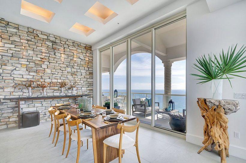 Beépítés minden Stílus: Gyönyörű étkezők kőfalakkal