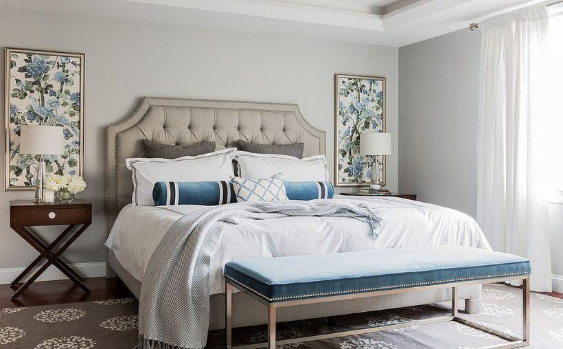 Gallardo dormitorio contemporáneo en gris con acentos azules brillantes