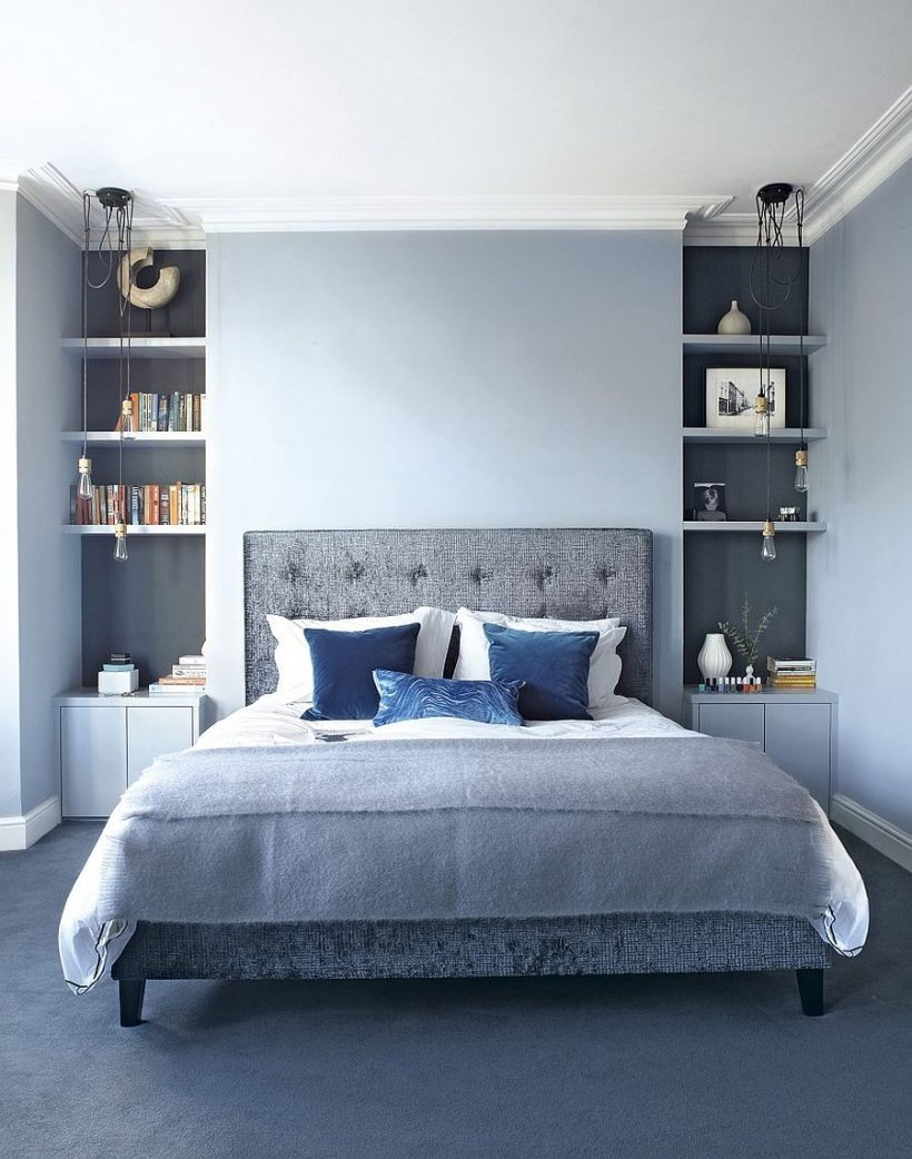Erinevad toonid sinine ja hall segu elegantselt sees see šikk magamistuba