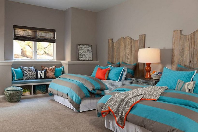 Fabulosa habitación de los niños en gris y azul