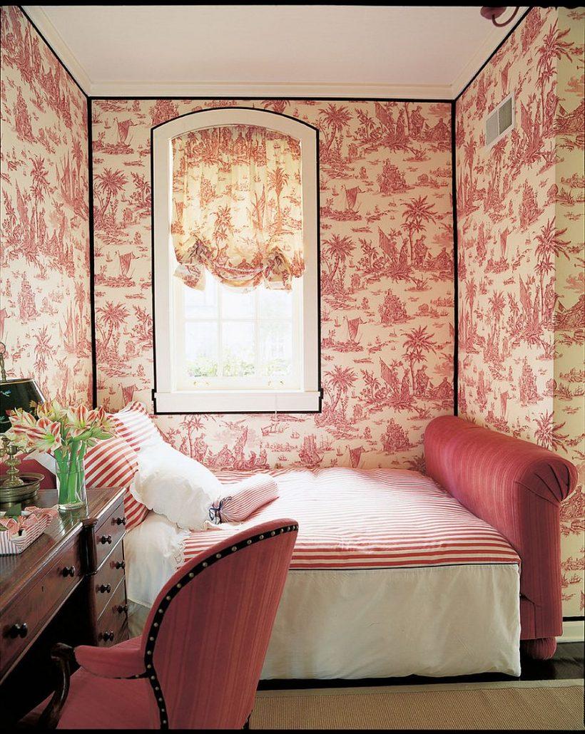 fondo de pantalla fabulosa y una cama pequeña a su vez el nicho de esquina en una habitación preciosa