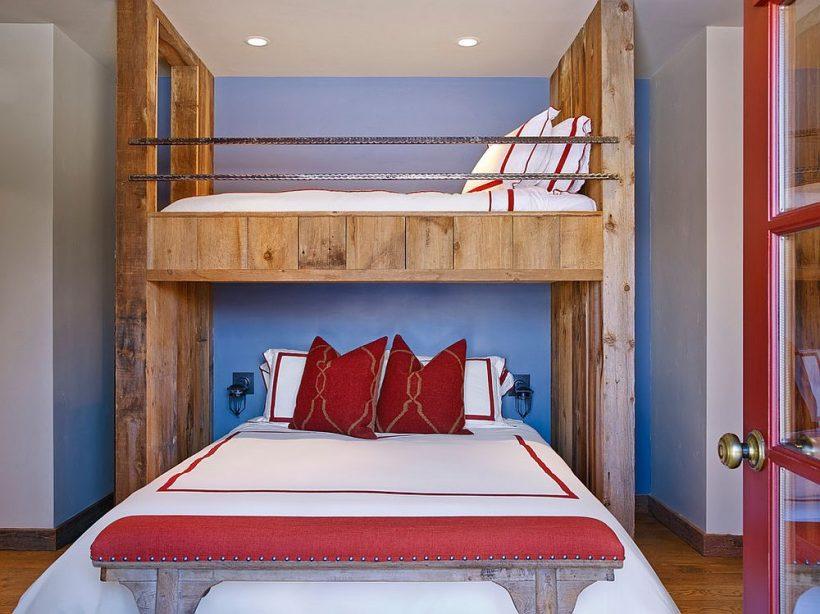 dormitorio rústico camas individuales como una sala de huéspedes Smart