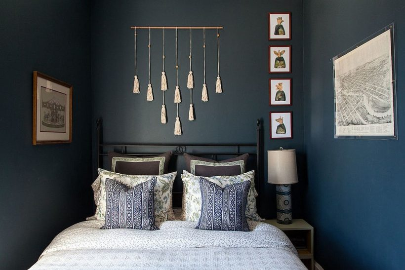 Väike eklektiline magamistuba hall ja sinine