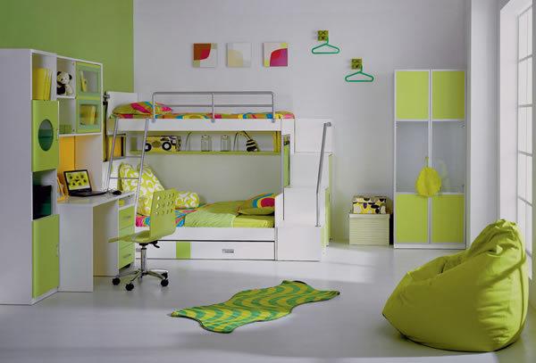 habitación de los niños en verde
