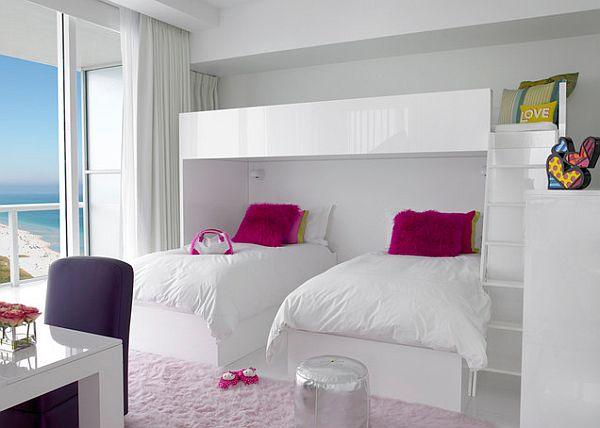 Muebles blancos brillantes niños dormitorio