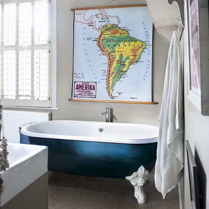 Vanna nes zilo skaistumu šo eklektisks vannas istabu