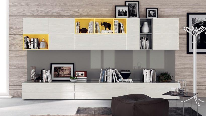 Blend otvorených a uzavretých jednotiek pre stenový systém dynamickej obývacej izbe