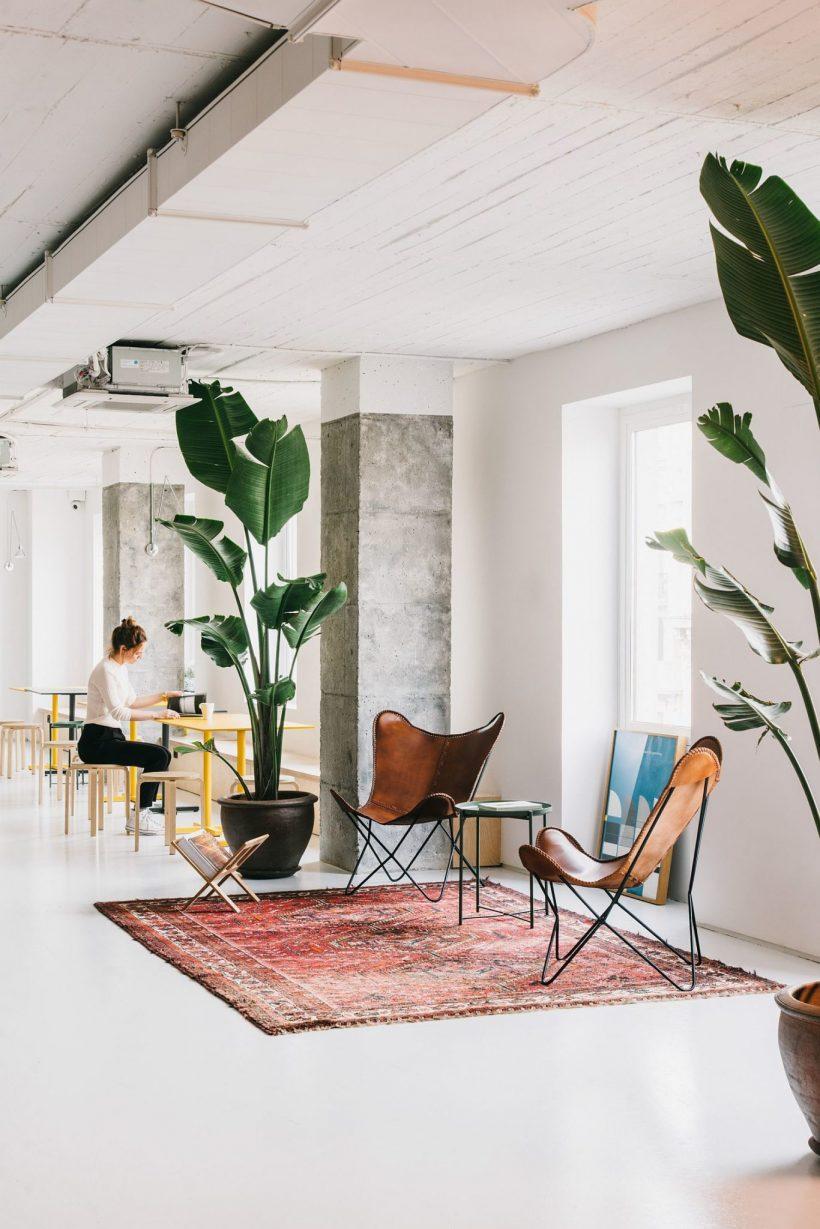 Tapis et des chaises apporter de la couleur à l'environnement de bureau neutre