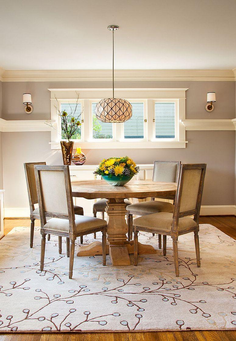 Craftsman stijl eetkamer met een prachtig gebied tapijt