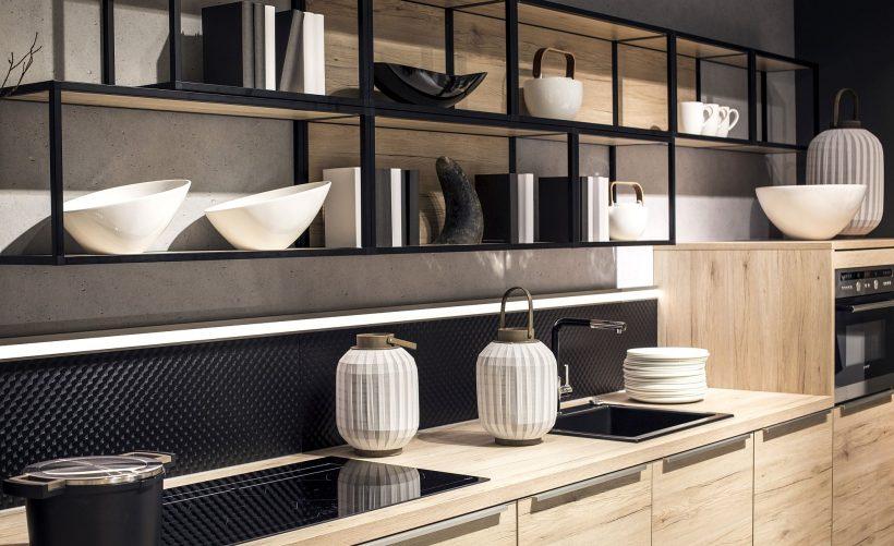Definir estanterías cocina y encimeras con luces de tira LED brillantes