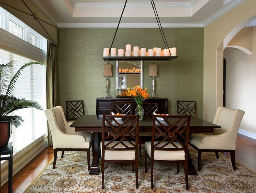 Eetkamer neemt het kleurenschema en cue van het mooie tapijt