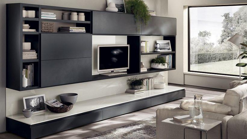 Unități elegante gri perete living oferă rafinament elegant