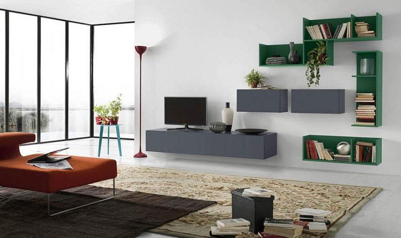 elegante uso de gris y verde en la sala de estar