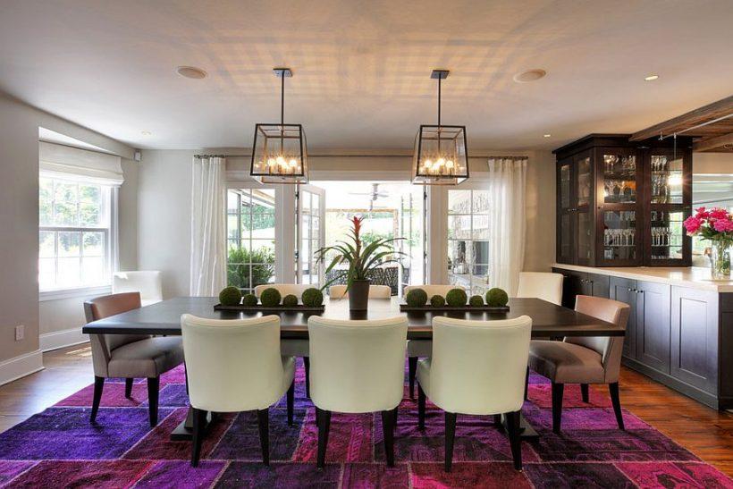 Fabulous overdyed tapijt in briljante paars steelt de show hier