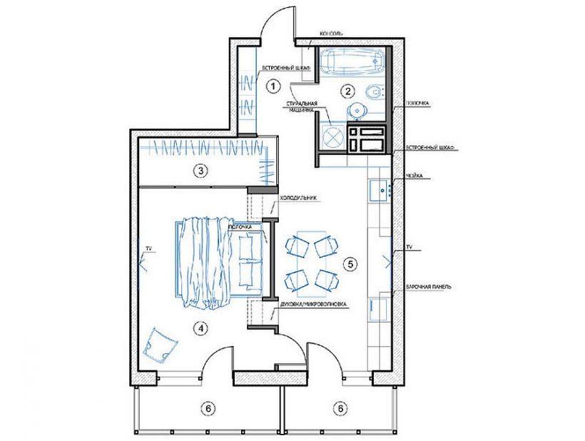 План поверху російської квартири дизайнер Наталія Акімова