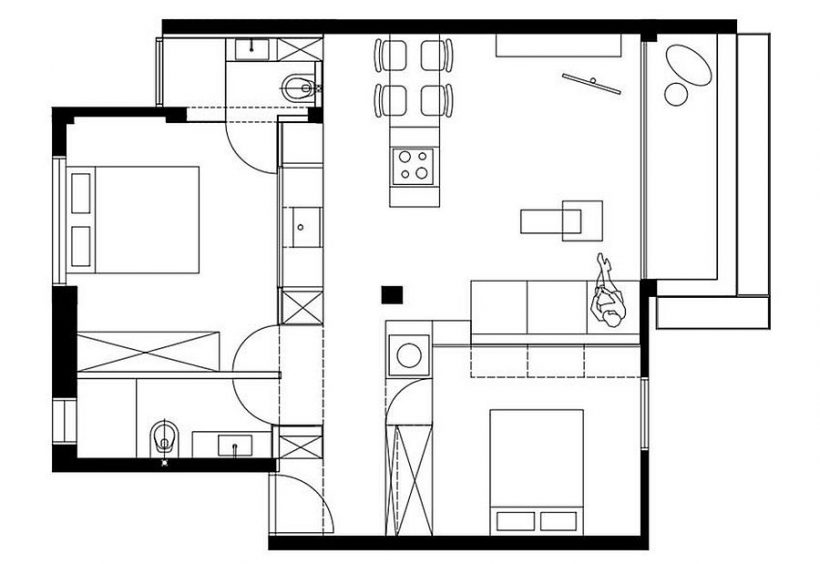Plan de l'appartement minuscule Tel Aviv