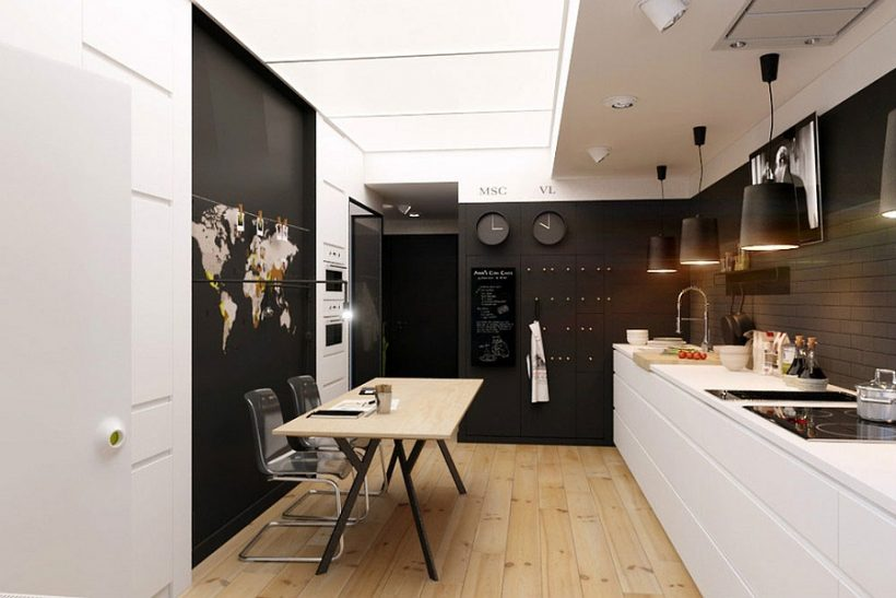 Кухня і їдальня в чорно-білому