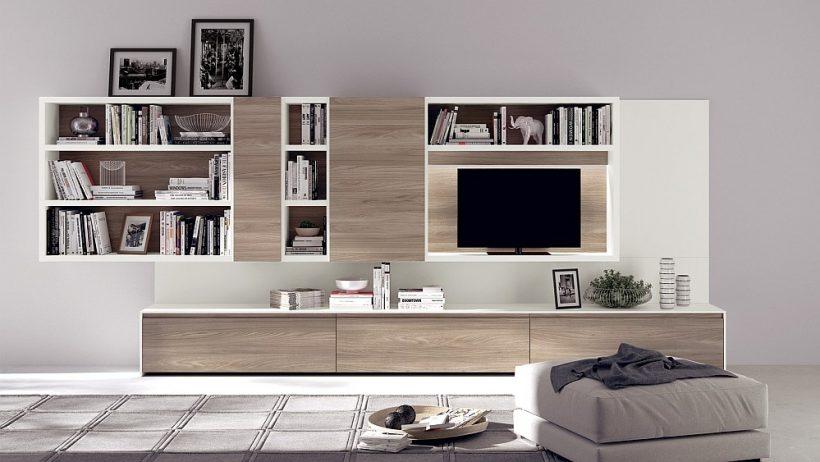 Ανοίξτε βιβλιοθήκες και κονσόλες entertianment διαμορφώνουν τη μονάδα μοντέρνα τοίχο