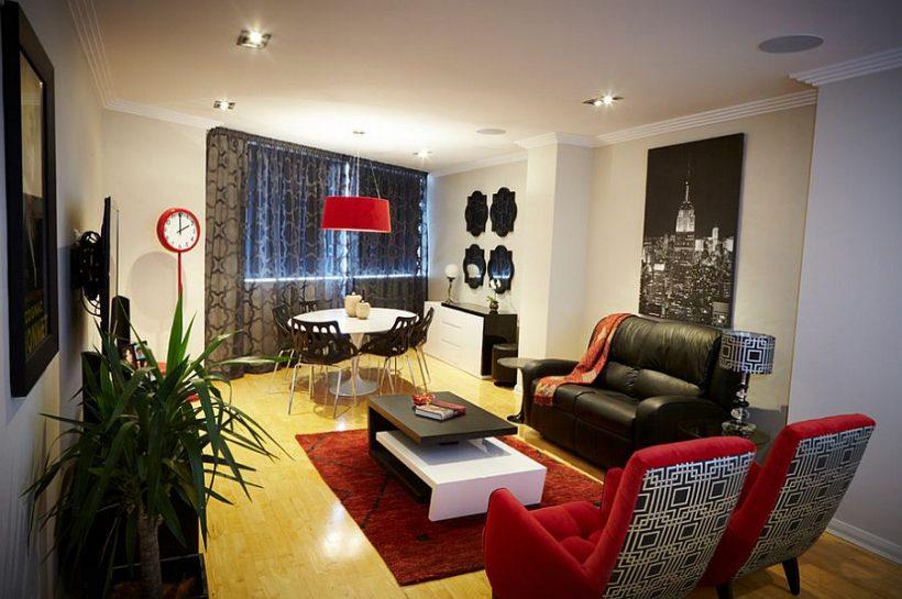Візерункові штори в сірому кольорі для шикарної сучасній вітальні