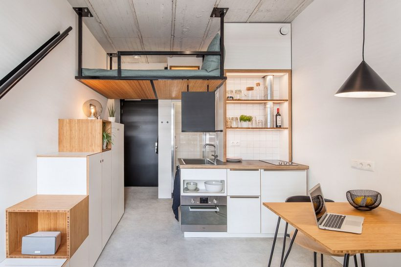 Tiny 18 кв.м апартамент предлага студентски квартири с Space-разбирам Лесен