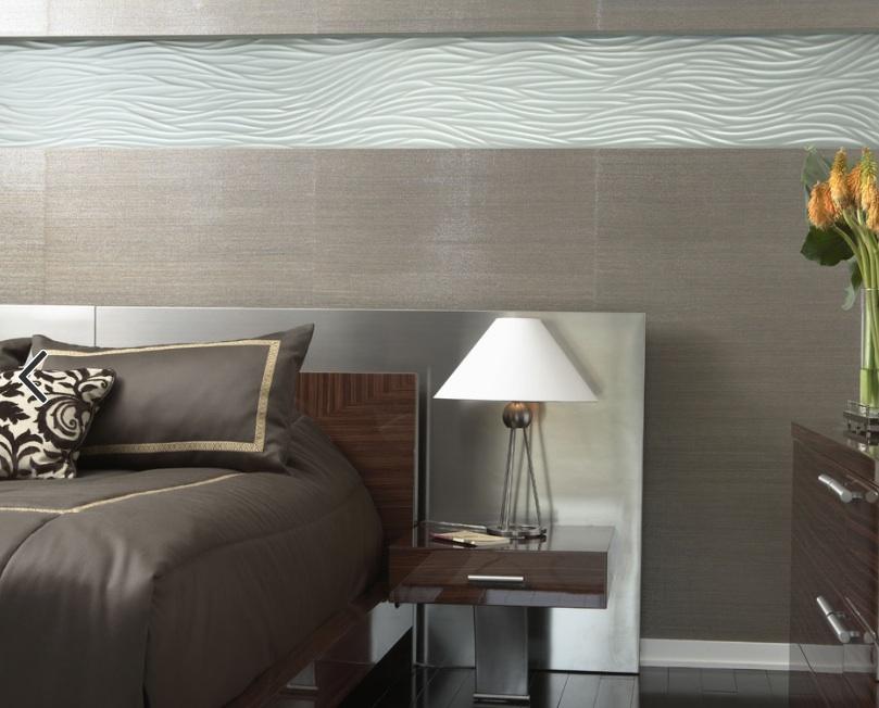 Mõtle vooder magamistoa seina roostevabast terasest glam ilme.