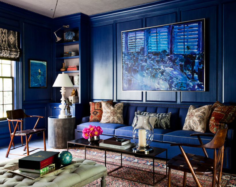Stylish Blue Living Room Ideeën