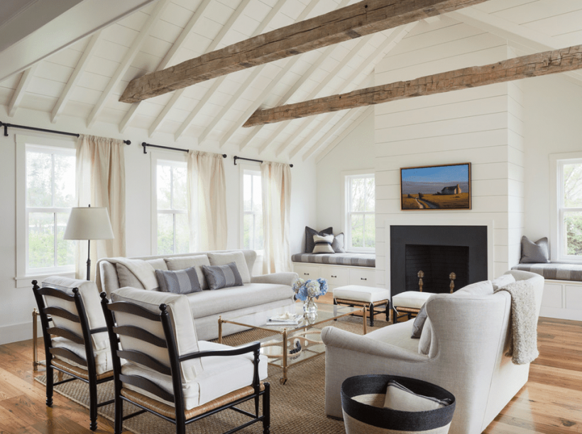 Clean and crisp farmhouse living room monochromatic