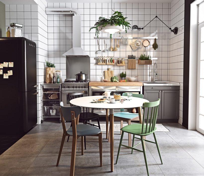 Skandinaavia köök roheline ja sinine toolid must ja valge plaadid