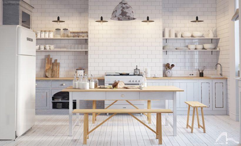 Škandinávska kuchyne svetlo drevo biele jednoduché okrúhle rysy
