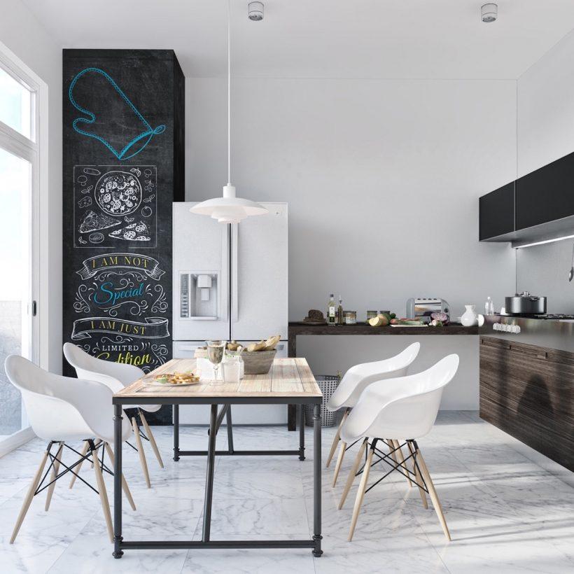 Skandinaavia mustvalge köök must aktsendid valge külmik