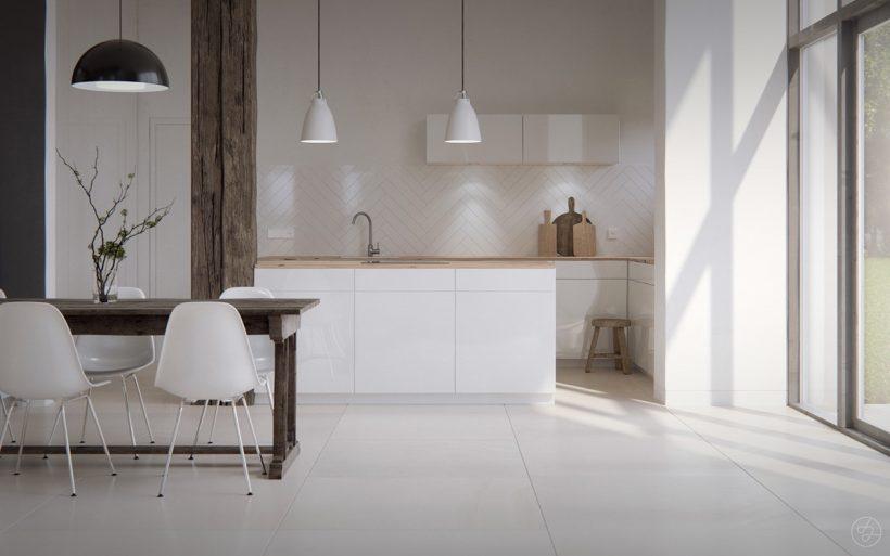 paljaste Skandinaavia köök valge plaaditud põrand avatud must raamitud aknas
