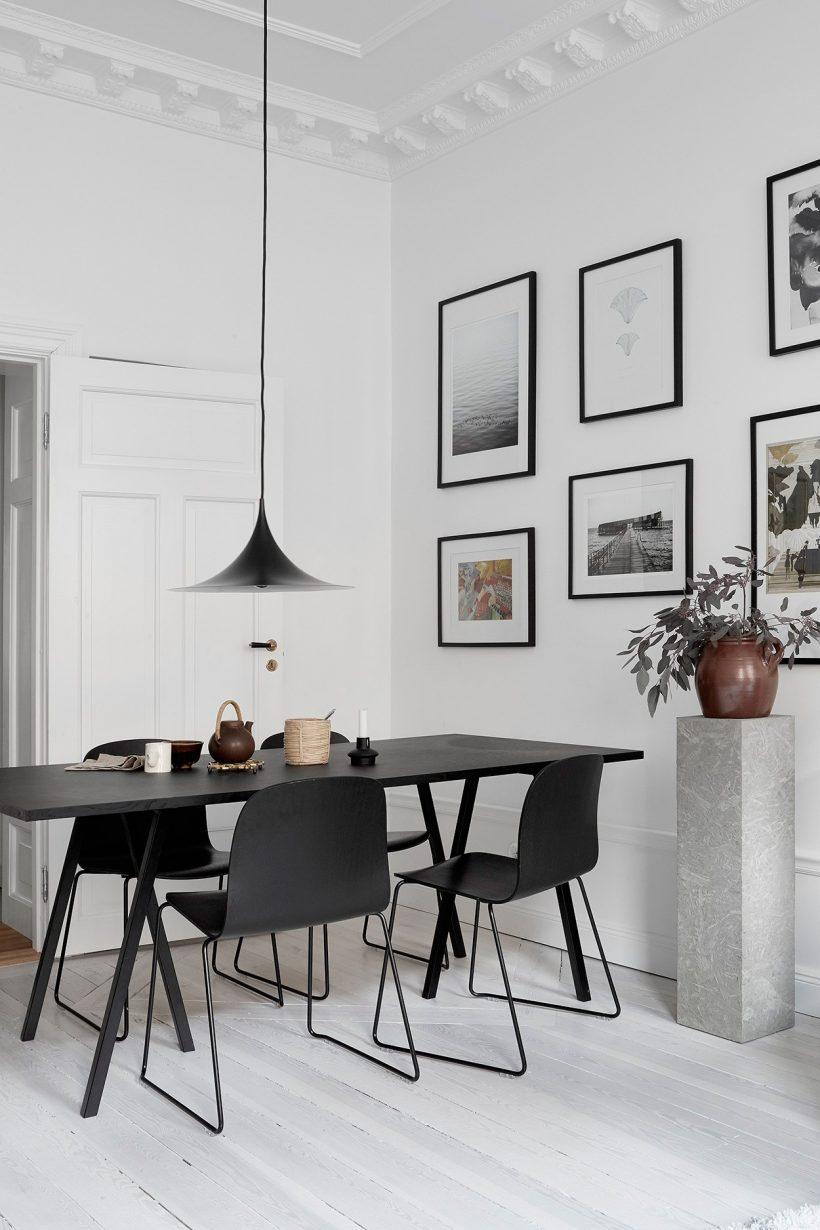 pilar batida sala de jantar iluminação monocromática concreto