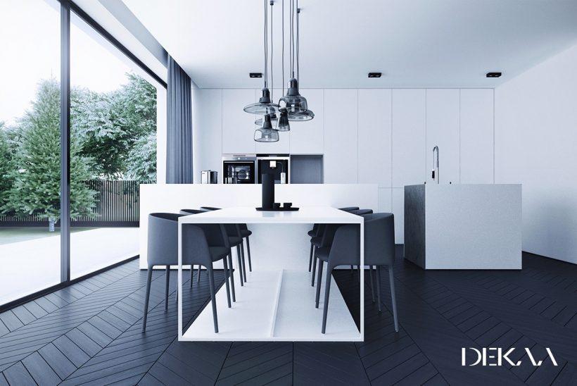diferente ângulo preto piso de madeira e sala de jantar branca