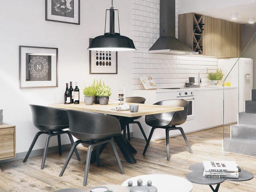 gravuras emolduradas pod cadeiras monocromático jantar quarto