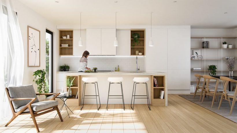 Bývanie ozdoby z dreva, tento priestor vyžaruje čisto biele miesto. Šedý slingback, jednoduché ilustrácie a šifón závesy sedieť stranou.