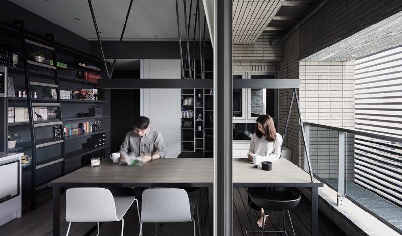 metade escritório meia sala de jantar monocromático comer espaço