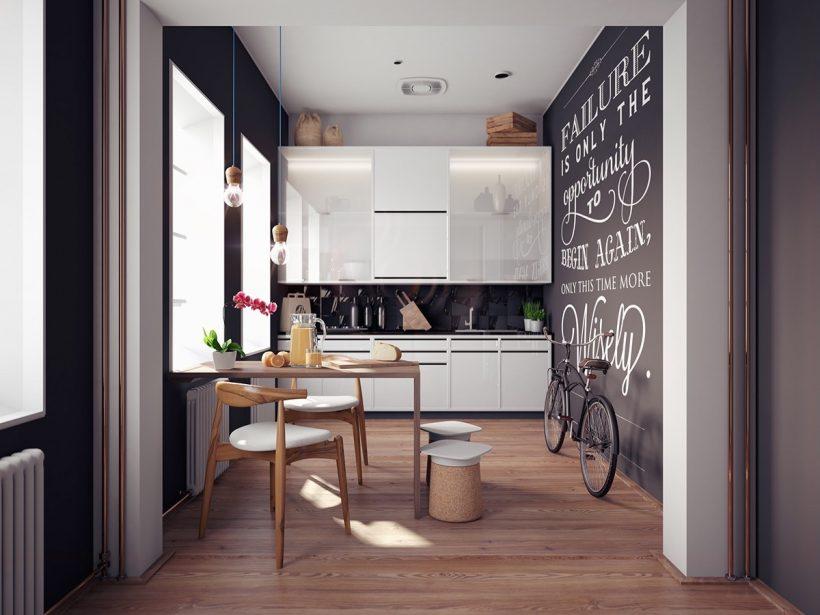 εμπνευσμένη απόσπασμα σε μαυροπίνακα τοίχο σκανδιναβική κουζίνα
