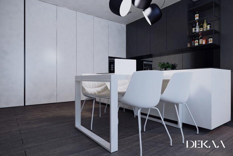 minimalista iluminação câmera sala de jantar monocromático