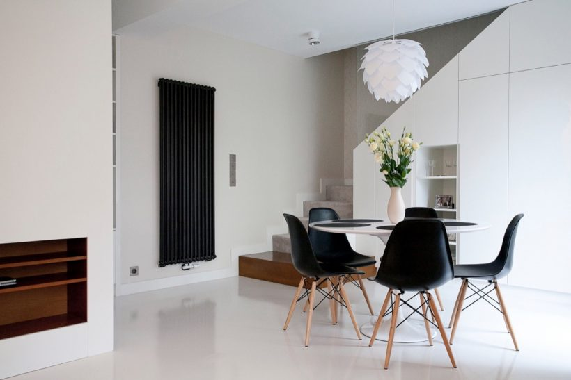 preto chão luz origami polido e sala de jantar branca