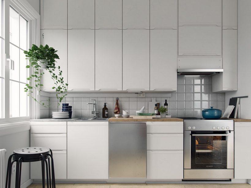 απλό λευκό ντουλάπια χρώμιο διαθέτει σκανδιναβική κουζίνα