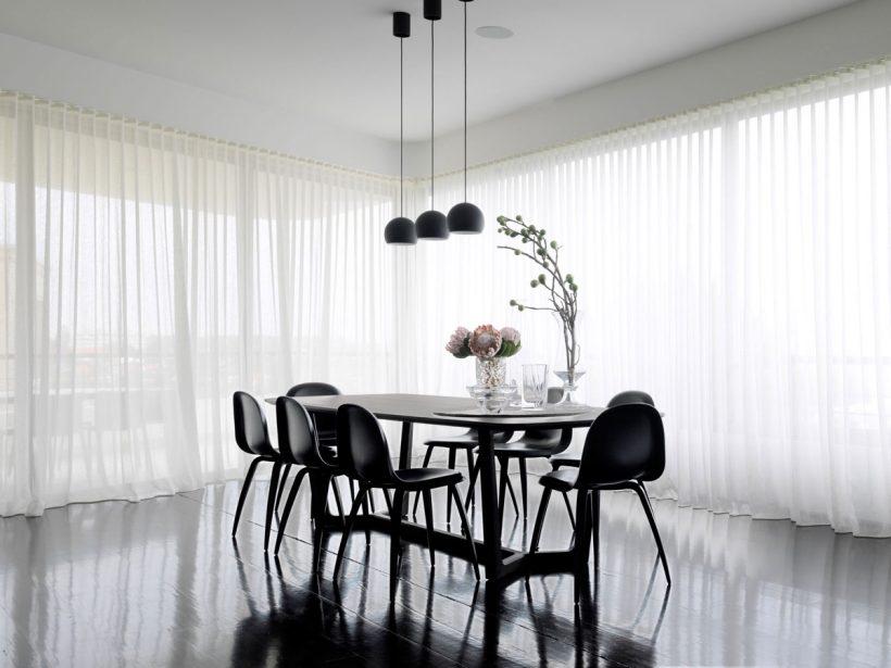 cortinas do chão chiffon polidas monocromático jantar quarto