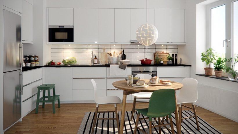uvoľnená škandinávske kuchyne pruhované koberec školáka stoličky