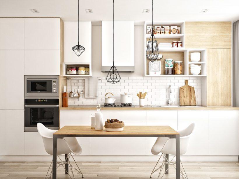 jednoduchá kuchyne biela a drevo Scandinavian
