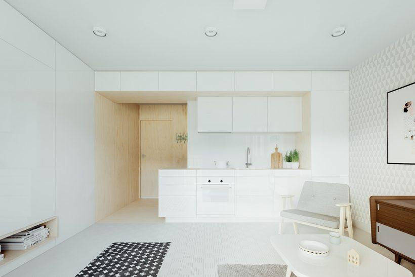 kuchynské štúdio celý biely minimalistický