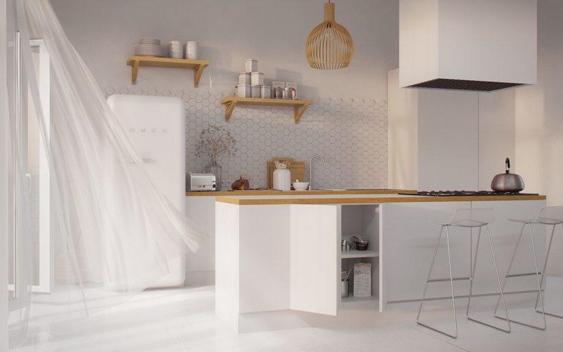 το λευκό και το ξύλο της κουζίνας κόπρανα μινιμαλιστικό στένσιλ