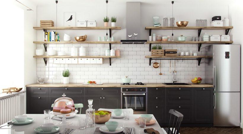 biela tehlová stena lavica regály škandinávske kuchyne