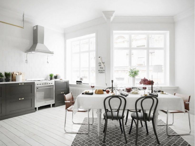 janelas francesas brancas monocromático área de jantar