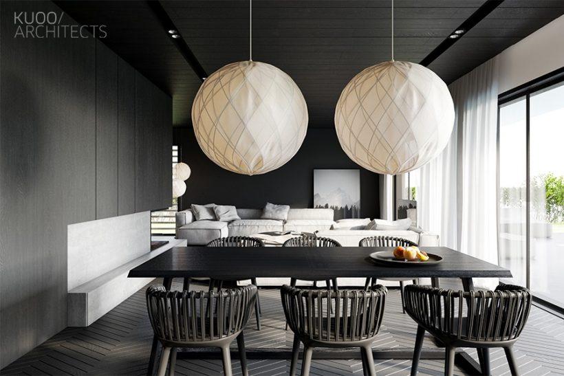 paredes pretas lanterna brancas monocromático jantar quarto