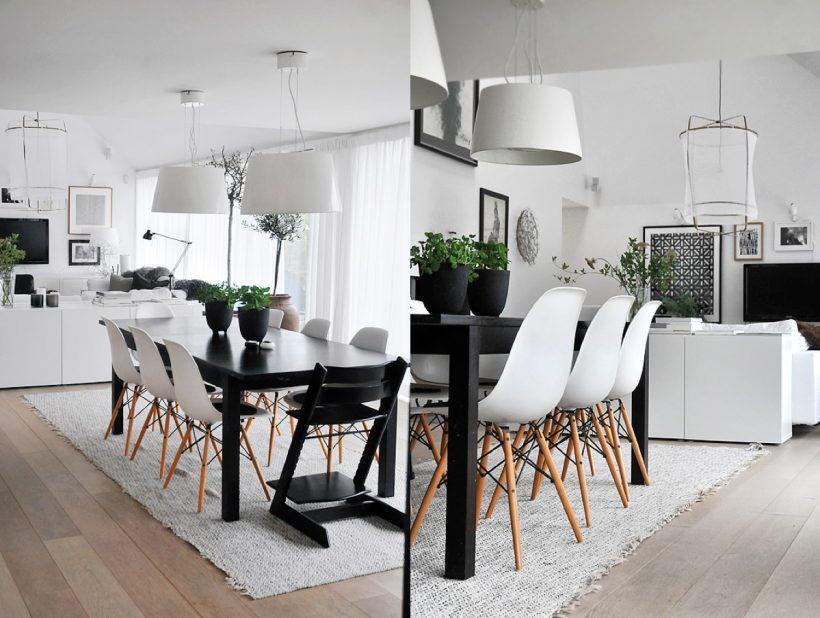 pernas de madeira vasos de plantas moderna sala de jantar preto e branco